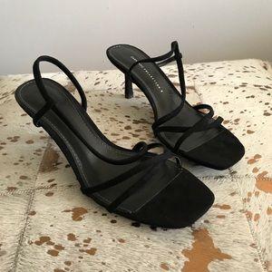 Zara Black Velvet Slingback square toe Sandals 40